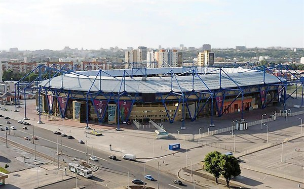 An aerial view shows the Metalist Stadium in Kharkiv May