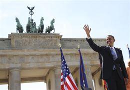 Obama en Berlin durante su encuentro con Merkel