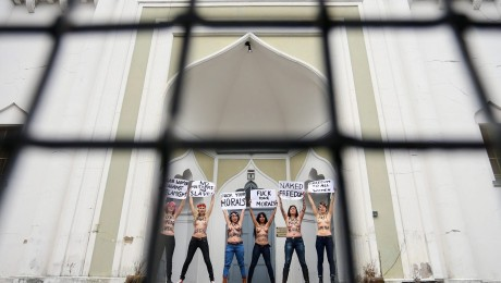 Mit Plakaten setzten sie sich für die Freiheit der Frau in islamischen Ländern ein