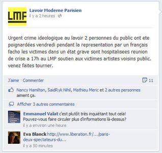 Extrait de la page facebook du Lavoir moderne à Paris.
