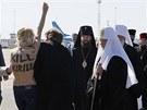 Na patriarchu rusk pravoslavn crkve Kirilla se na letiti v Kyjeve vrhla...