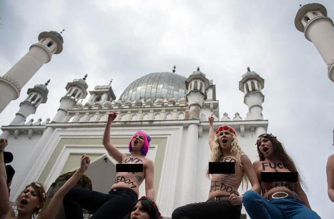 Berlin Germany Topless Jihad