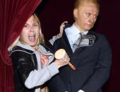 An activist from the Femen feminist group hits back at Vladimir Putin — or at least his  wax statue  at the Grevin museum in Paris, during an action to denounce Putin's regime.
