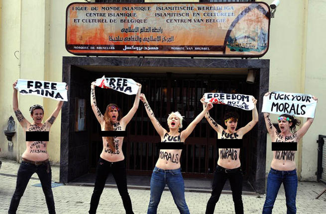 Brussels Belgium Topless Jihad