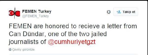 Arrested Turkish journalist thanks FEMEN for support