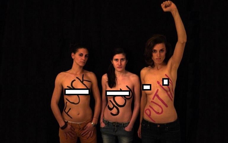 Femen italiane a seno nudo contro Putin02