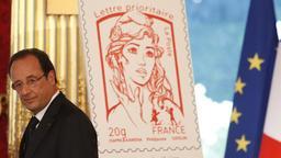 Marianne-Briefmarke und Modell