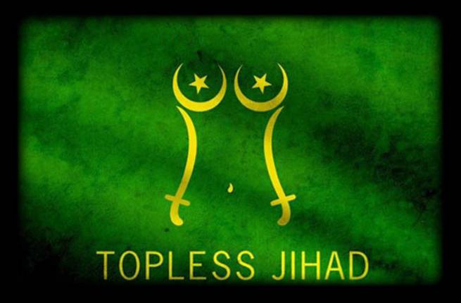 Topless Jihad crescent star