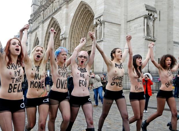 MANIFESTANTES DO GRUPO FEMEN, QUE PROTESTA DE TOPLESS EM LUGARES COMO UCRÂNIA E PARIS (Foto: femen.org)