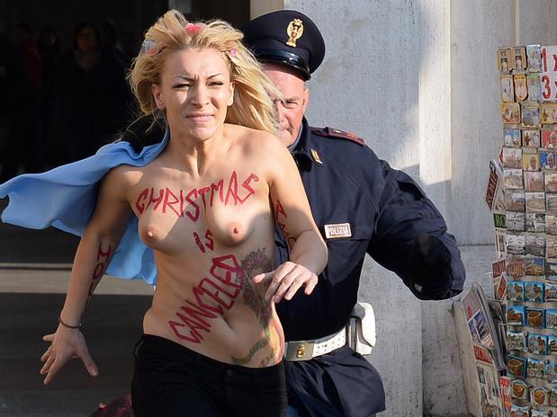 Inna Shevchenko, una ucrania de 23 años Foto: AFP