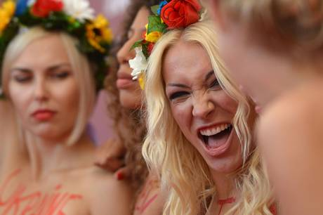 Shevchenko poses with other members of Femen during a photocall at last year's Venice Film Festival (AFP/Getty Images)