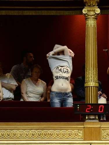 Activistas de la organizacin feminista Femen protestaron hoy con los senos al descubierto en el Senado francs contra una modificacin del proyecto de ley sobre la prostitucin en fase de tramitacin que anula la penalizacin de los clientes. Las tres mujeres, que se encontraban en las gradas del pblico de la cmara alta francesa, se descubrieron los senos en los que haban escrito mensajes contra los senadores que han decidido suprimir las disposiciones que castigaban a los clientes de las prostitutas.