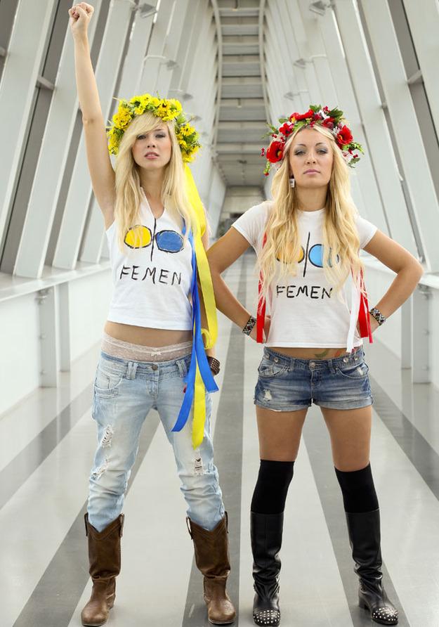 Przedstawicielki Femenu odwiedziły Polskę. Na zdjęciu po nagraniu programu Pytanie na śniadanie. /Krzysztof Kuczyk /Agencja FORUM
