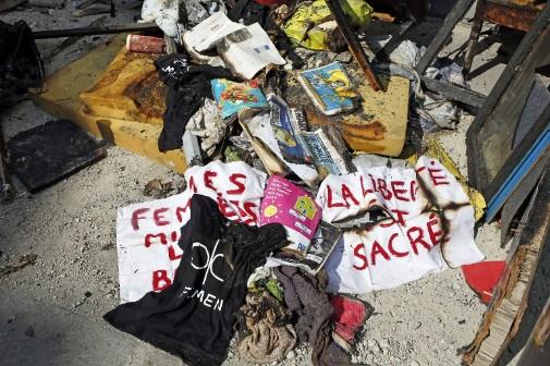 Le local des Femen à Paris après l'incendie