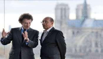 Moncef Marzouki (d) reu par Jack Lang  l'Institut du Monde arabe  Paris, le 12 avril.