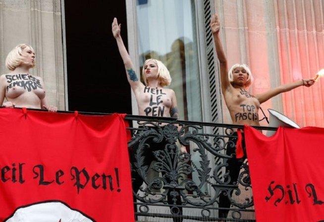 Femen irrumpe acto de lder de extrema derecha francesa