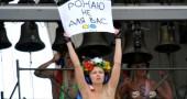 A topless activists of Ukrainian feminis