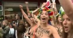 Les Femen manifestent seins nus à Paris