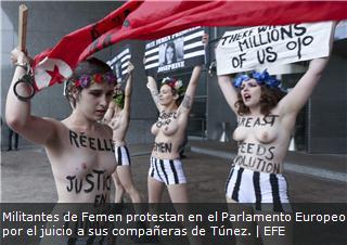 Militantes de Femen protestan en el Parlamento Europeo por el juicio a sus compañeras de Túnez.