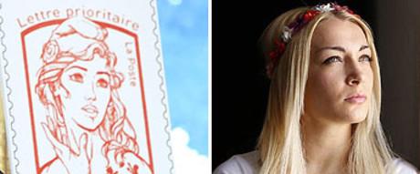 El nuevo sello dedicado a Marianne y la feminista de Femen Inna Shevchenko, que le ha servido de inspiración al diseñador.