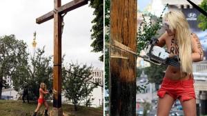 En imágenes: Activistas de Femen tiran una cruz en Ucrania en apoyo a Pussy Riot