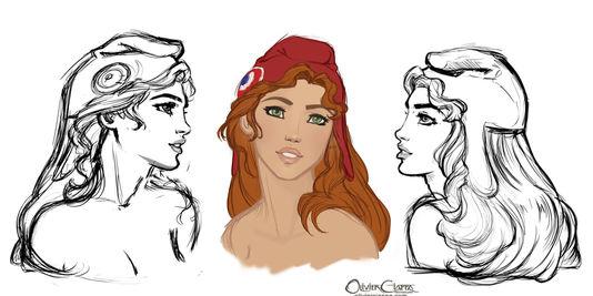 Trois dessins préliminaires réalisés afin d'élaborer le buste 3D de Marianne.