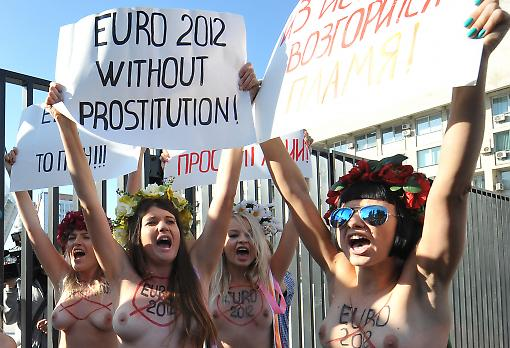 Femen activists demonstrating in Kyiv before the Euro 2012 tournament. Photograp