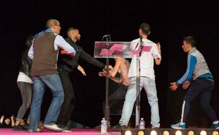 FEMEN activists disrupt Muslim conference in Paris