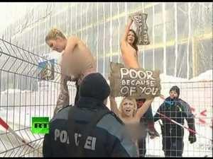 Topless FEMEN Protesters Risk Windburn at Davos