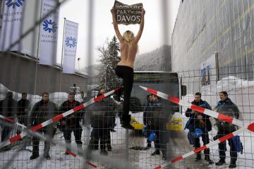Naked davos protest
