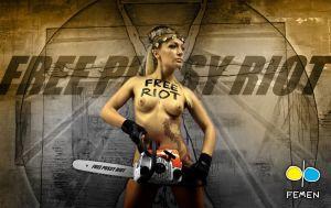 Aktivistka hnutí Femen protestuje proti odsouzení Pussy Riot-Foto:Inna Sokolovskaja, Alexandr Kosmač