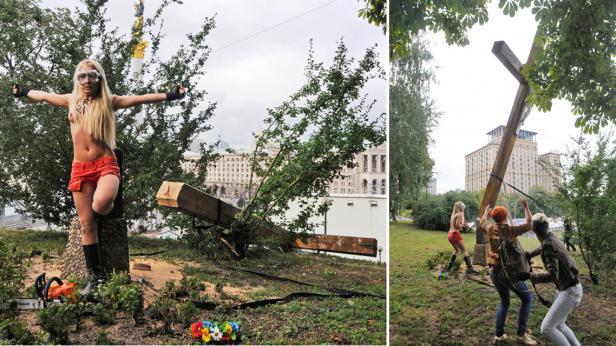 Ukrajinky z hnutí Femen podřízly pravoslavný kříž