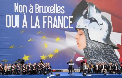 Marine Le Pen lors du son discours devant l'opéra Garnier, le 1er mai 2014 à Paris