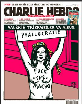 Hollande:Valerie versione Femen in copertina 'Charlie Hebdo'