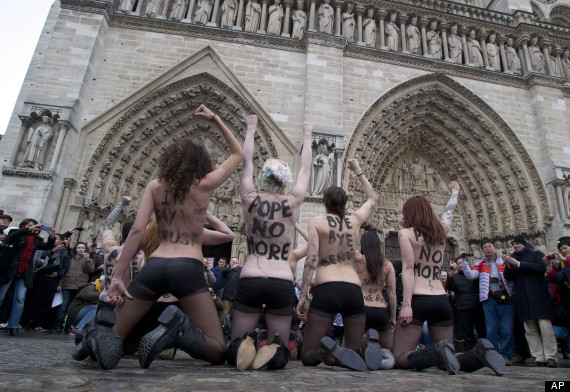 femen rejoice at pope resignation