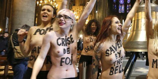 Le 12 février2013, huit membres des Femen ont pénétré dans la cathédrale Notre-Dame de Paris pour célébrer la renonciation de Benoît XVI et le vote de la loi sur le mariage pour tous.