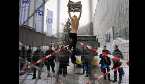 Topless Femen protesters in Davos