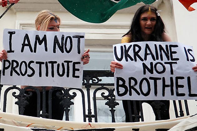 Topless Ukraine activists protest at Indian embassy